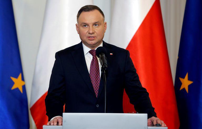 El presidente de Polonia, Andrzej Duda, en una intervención en Varsovia el pasado mes de febrero.