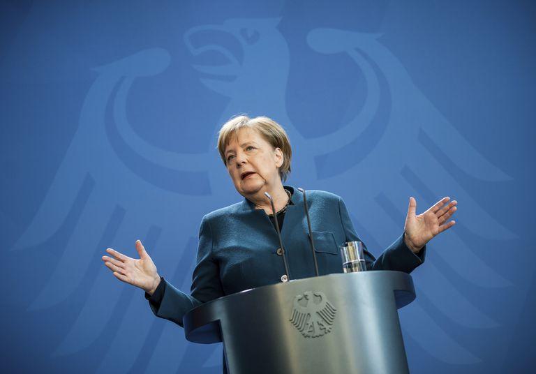 Angela Merkel, en una rueda de prensa este domingo 22 de marzo