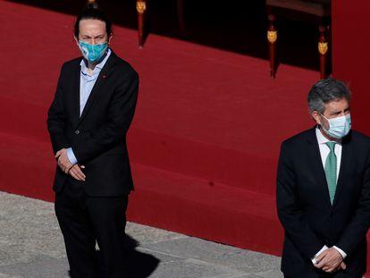 El vicepresidente segundo del Gobierno, Pablo Iglesias, junto al presidente del Tribunal Supremo, Carlos Lesmes, el pasado 12 de octubre en Madrid.