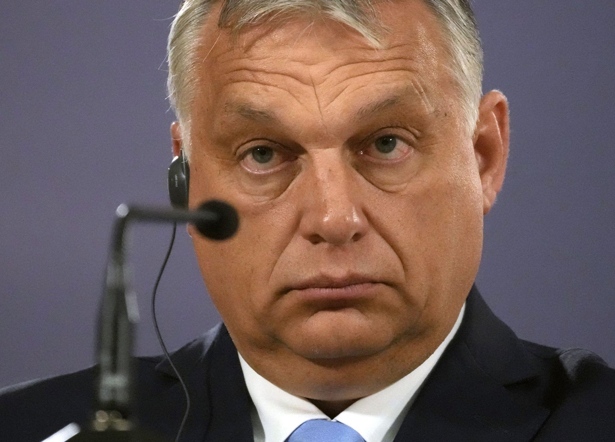 El primer ministro húngaro, Viktor Orbán, durante una rueda de prensa en Belgrado, Serbia, el 8 de julio.