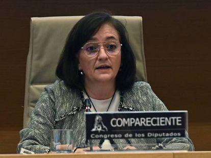 La presidenta de la Airef, Cristina Herrero, durante su comparecencia este lunes en el Congreso.