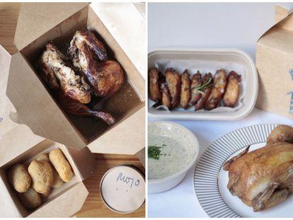 Los pollos a domicilio de Montar el Pollo (izquierda) y Hermanos Pollo (derecha).