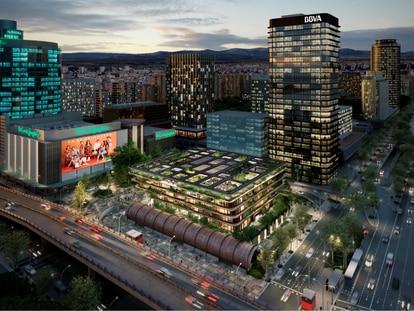 Recreación del edificio de oficinas que el Corte Inglés levantará delante de su tienda de Nuevos Ministerios, en Madrid.