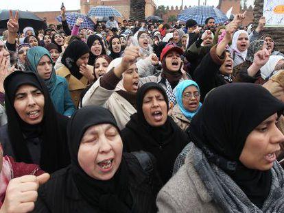 Manifestantes en Rabat el 20 de febrero de 2011.