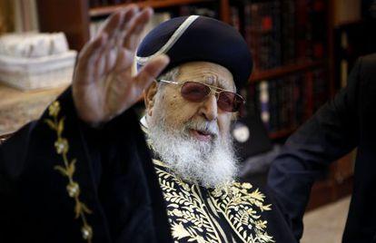 El rabino Ovadia Yosef, líder religioso y político de los judíos sefardíes de Israel, en 2011.