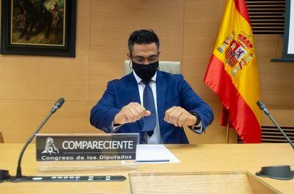 Sergio Ríos, exchófer del extesorero popular Luis Bárcenas, en la comisión de investigación del Congreso sobre la Operación Kitchen, el pasado mayo.