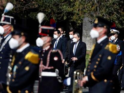 El primer ministro de Italia, Mario Draghi en las celebraciones del 25 de abril (Día de la liberación).