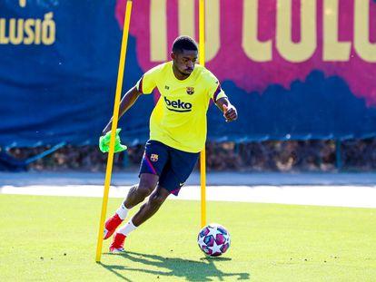 Dembélé, durante un entrenamiento en la Ciudad Deportiva del Barcelona.