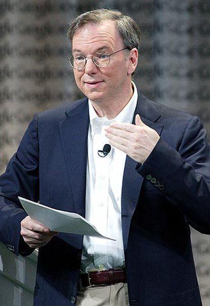El director general de Google, Eric Schmidt, ayer en Mountain View (California).
