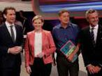 Party heads Kurz, Meinl-Reisinger, Kogler and Hofer wait for the start of a TV discussion in Vienna