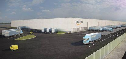 recreación del futuro centro logístico de Amazon en Illescas.
