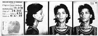 Fotos de la ficha policial de Silvia, una mujer transexual detenida por peligrosidad social en 1974.