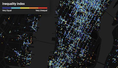 Cada punto es un local (un bar, una tienda).