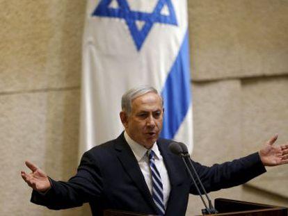 Benjamín Netanyahu, el lunes en el Parlamento israelí.