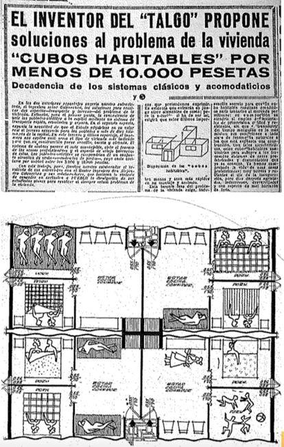 Arriba, noticia publicada en el diario 'Pueblo' con soluciones extremas para la repentina superpoblación de Madrid durante el éxodo rural. Abajo, un plano de las viviendas prefabricadas de De la Hoz y García de Paredes.
