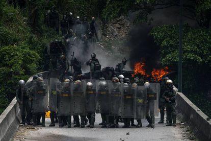 La Guardia Nacional Bolivariana este martes en Caracas.
