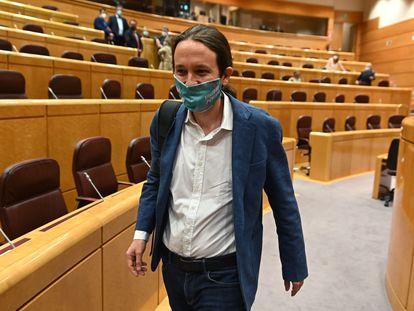 Pablo Iglesias, el 14 de julio durante un pleno en el Senado.