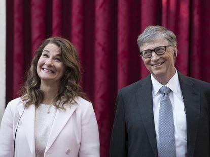 Bill y Melinda Gates durante una visita al Palacio del Elíseo de París, en abril de 2017.
