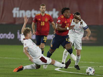 Adama Traore, durante el partido España-Suiza de la Liga de las Naciones en el Alfredo Di Stefano el pasado sábado.