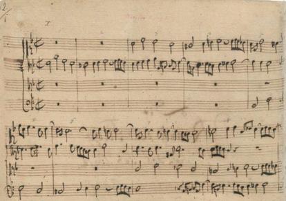 Comienzo del manuscrito autógrafo de Bach del Contrapuntus I de 'El arte de la fuga' de Bach.