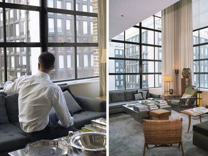 André Mellone posa para Icon Design en su casa de Chelsea. A la derecha, una vista del salón, un espacio con doble altura presidido por cortinas color crema y una butaca de bambú que Mellone pintó de gris.