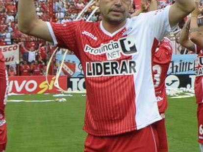 Riquelme, el día del ascenso con Argentinos Juniors.