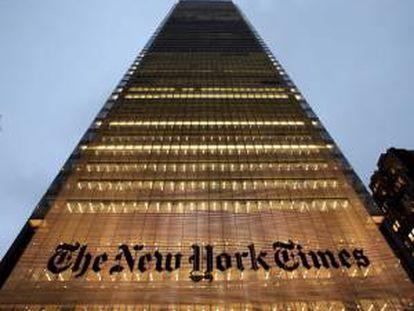 Vista de la sede principal del diario estadounidense The New York Times, en Nueva York, EEUU.