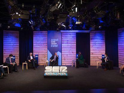 Los candidatos a las elecciones catalanas, en el debate del pasado viernes en la Cadena Ser.