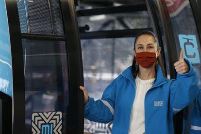 Claudia Sheinbaum durante un recorrido de prueba del CableBús, el pasado 4 de marzo.