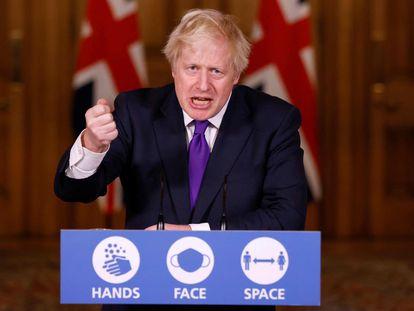 El primer ministro británico, Boris Johnson, durante la rueda de prensa en el 10 de Downing Street, este miércoles.