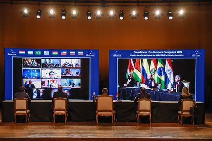 Vista general de la reunión virtual este jueves durante la Cumbre de Jefes de Estado del Mercosur.