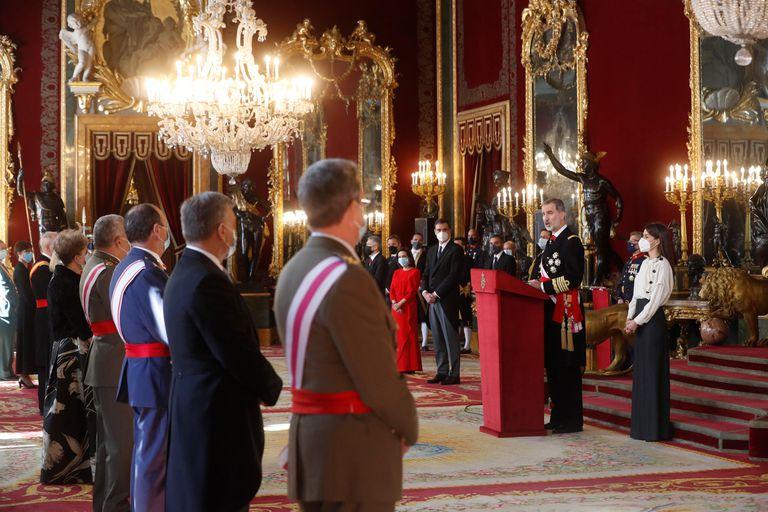 El rey Felipe VI, durante su intervención en la ceremonia de la Pascua Militar de 2021.