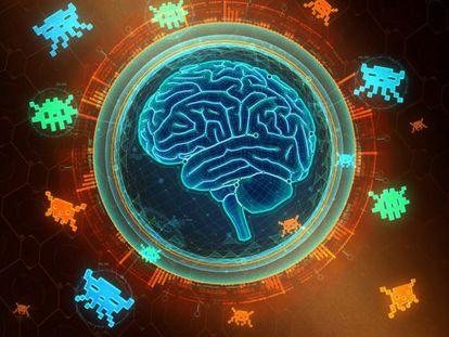 Esta recreación muestra la red neuronal artificial que usa el programa DQN para vencer a las hordas del mítico juego 'Space Invaders'.