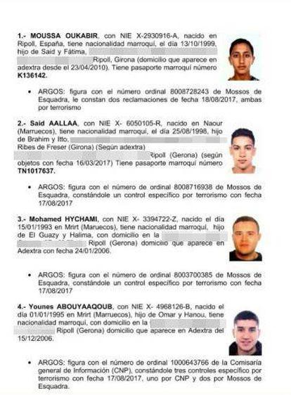 Informe con las fichas policiales de los cuatro sospechosos. El último es Younes Abouyaaqoub.