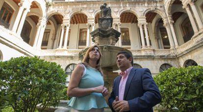 Susana Díaz con el presidente de la Diputación de Jaén, Francisco Reyes.
