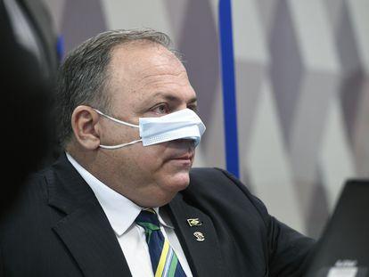 El general Eduardo Pazuello declara en el Senado ante la comisión investigadora sobre la estrategia contra la pandemia, el 19 de mayo de 2021.