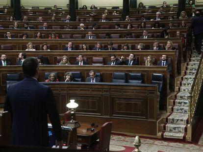 Pedro Sánchez, el pasado sábado durante la primera jornada del debate de investidura.