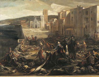 La ciudad de Marsella, durante la pestede 1721, en un cuadro de Miguel Serra.
