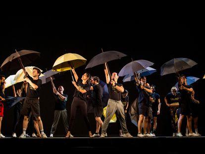 Ensayo del musical Cantando bajo la lluvia en el Tívoli de Barcelona.