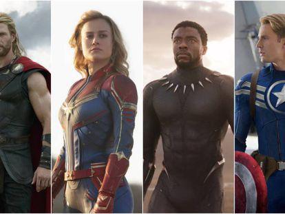 Thor (Chris Hemsworth), Capitana Marvel (Brie Larson), Black Panther (Chadwick Boseman) y el Capitán América (Chris Evans) en sus distintas películas.