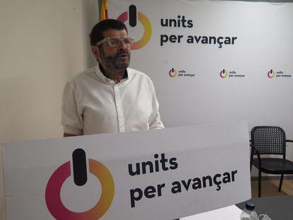 El dirigente de Units per Avançar y teniente de alcalde de Seguridad de Barcelona, Albert Batlle, durante el Consell Nacional del partido.  UNITS PER AVANÇAR 11/07/2020
