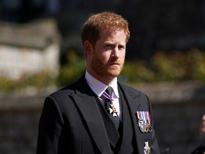 Enrique de Inglaterra, en el funeral por su abuelo.