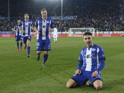 Munir celebra su gol al Deportivo de La Coruña.