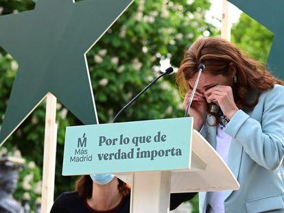 La candidata de Más Madrid a la presidencia de la Comunidad de Madrid, Mónica García, durante el acto de cierre de campaña.