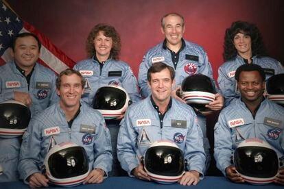 La tripulación del 'Challenger', antes del despegue.