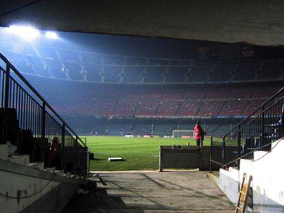 El Camp Nou, vacío tras un partido.