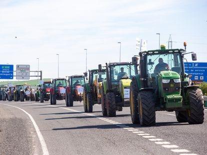 Las principales asociaciones agrarias, en una protesta contra la PAC el pasado marzo.