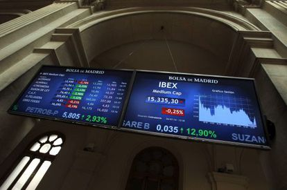 Pantallas informativas en la Bolsa de Madrid.