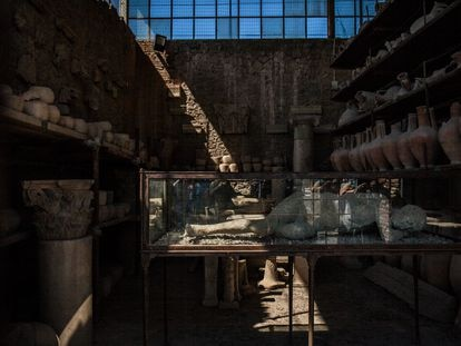 Cuerpo en el antiguo granero del fórum de Pompeya, que hoy alberga un inventario de 9.000 piezas rescatadas durante las excavaciones.