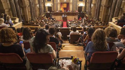 Una mujer con su hijo sigue el pleno especial en el Parlament en defensa del movimiento feminista